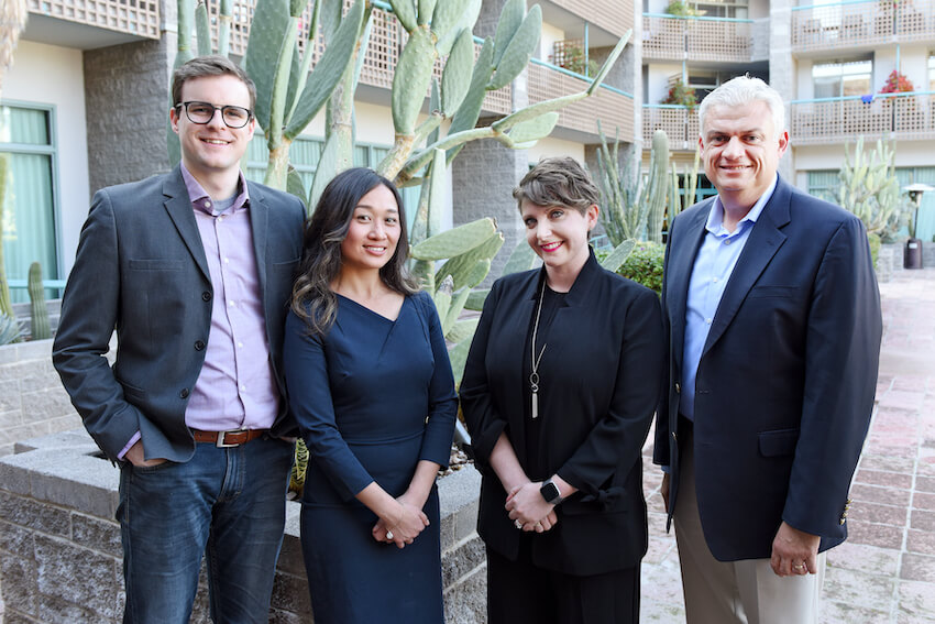 L to R: Adam Sylvain, Patricia Chau Nguyen, Katie Sampson and Jorge Ancona (UC Riverside), Chair, CAAE Awards & Fellowships Committee